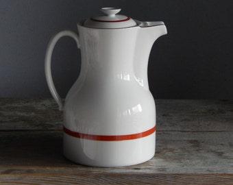 Vintage Upsala Ekeby Ignis Coffee Pot Pitcher Sweden Stoneware White Scandinavian Tableware 1950s
