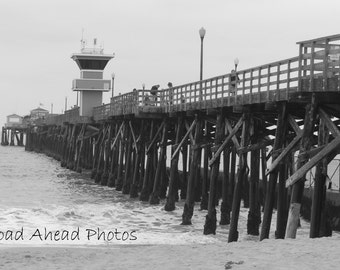5 x 7 matted photo Seal Beach Pier, California, Beach, black and white