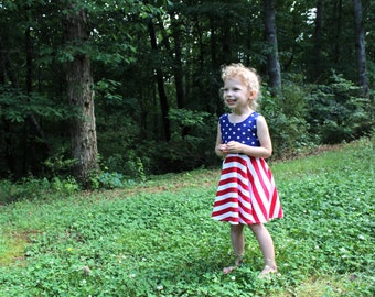 July 4th - Fourth of July Kids - Fourth of July Dress for Girls - 4th of July Dress - Red White Blue Dress - Sleeveless Dress