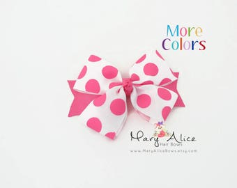"Polka Dot Boutique Hair bow- 4.5"" Bow, Non Slip Large Bow, Girls Toddler HairBow, Alligator Clip, French Barrette- Made to Order- Style: LD1"