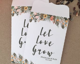 10 Wedding Favour White Seed Packet Envelopes Personalised Let Love Grow