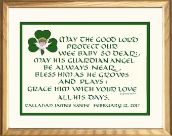 Irish Baby Blessing for boy or girl, personalized free  Celtic gift composed, hand-lettered and designed by  Jacqueline Shuler