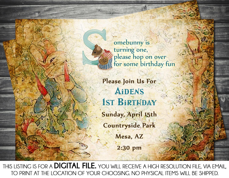 Vintage Peter Rabbit Boy Birthday Invitation Blue