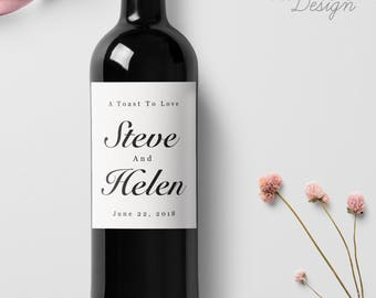 Custom Wedding Wine Labels, Personalized Wine Label, with Elegant Script Calligraphy, Wedding Wine Bottle Labels, Ship from the U.S., WL8