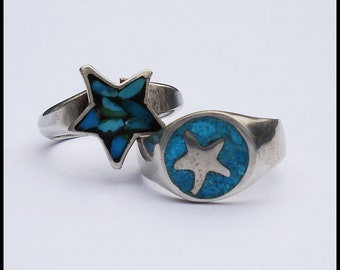 Lot of Two Vintage Sterling Turquoise Star Rings Size 5 and 5.5