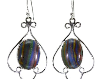 Rainbow Calsilica Earrings, 925 Sterling Silver, Unique only 1 piece available! color multicolour, weight 6.1g, #28793
