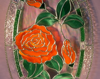 Stained Glass Oval Rose with Buds