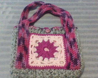 Crochet Handbag/Lined Purse/Fits over the shoulder/Perfect for under the arm/Very bold design