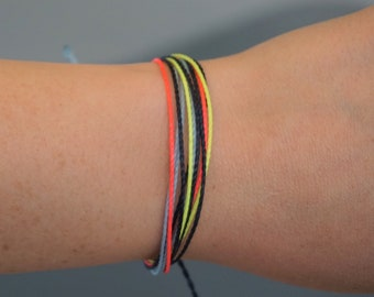 Colorful Multi-Strand Bracelet - Dark Blue, Light Blue, Neon Pink, Neon Yellow - friendship bracelet