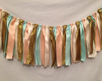 Fabric Garland/Ribbon Banner/Country Wedding Decor/Mint Wedding Decor/Prairie Wedding Decor/Peach Wedding Decor/Peach Ribbon Garland