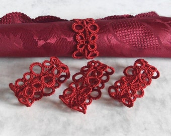 Red Lace Napkin Rings in Tatting - Eva - Set of Four