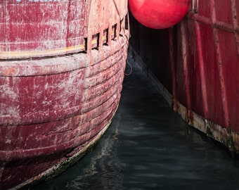 Ireland Photography - Boats Print - Weathered Fishing Trawlers - Northern Ireland - Portavogie Harbour Photograph - Pink and Red Boats Print