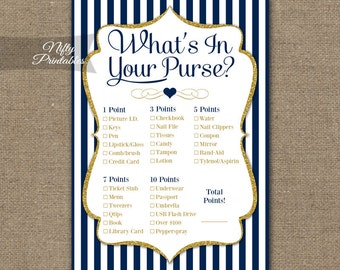 What's In Your Purse Shower Game - Blue Purse Game - Printable Navy Blue Baby Shower or Bridal Purse Shower Game - Instant Download - NGG