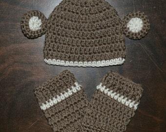 Monkey Handmade Crochet Beanie Hat and Legwarmers Custom Made Photo Prop