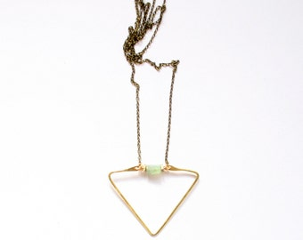 LAKE | Gemstone and Brass Beads on Hammered Triangle Brass Pendant Necklace