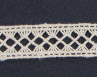 100% Organic Cotton Lace, Natural, Undyed, Sold by the Yard, 25mm