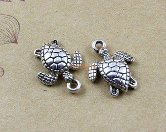 30Pcs Antique Silver sea turtle Charm sea turtle Pendant 16x13mm (PND472)