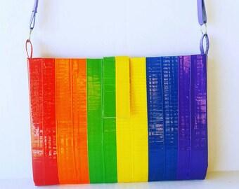 Rainbow Crossbody Purse, LGBT Pride Cross Body Bag, Unique Women's Handbags, Festival Bag,Cool Duct Tape Purse