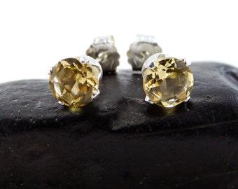 Citrine earring, round earrings golden citrine, sterling silver stud earrings 5 mm