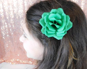 Flower Girl Hair Clip - Flower Hair Clip - Paper Flower Hair Clip - Green Paper Flower - Green Flower Hair clip - Wedding Flower Hair Piece
