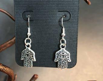 Silver Hamsa Earring