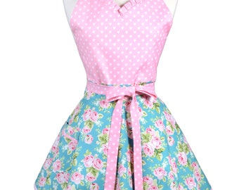 Sweetheart Retro Apron - Pink Roses and Hearts on Teal Apron - Womens Flirty Sexy Kitchen Pinup Cute Apron with Pocket