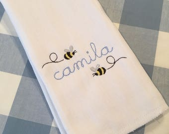 Monogrammed Name Bumble Bee Burp Cloth Embroidered Custom Baby