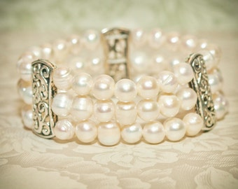 Bridesmaid Bracelet - Vinatage Style Tri-strand Authentic Freshwater Pearls, Antique Silver Connector - Mother of the Groom and of the Bride