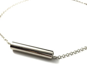 Pendent Necklace Choker Minimalist Hardware Jewelry Industrial Metal Tube Necklace