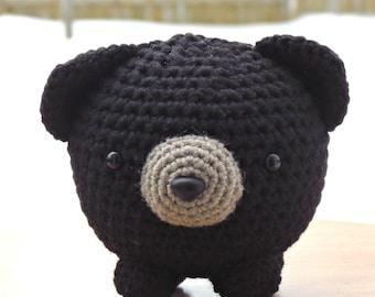 Grégoire the black bear, teddy bear, amigurumi