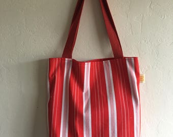 Handmade Red & White Striped Book Bag
