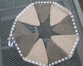 Hand knitted bunting in oatmeal and light brown