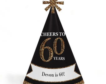 60th Birthday Party Hats - Adult 60th Birthday - Gold - Cone Happy Birthday Party Hats for Kids and Adults - Set of 8 (Standard Size)