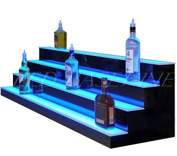 34 4 Step Led Lighted Bar Shelf Liquor Bottle Display