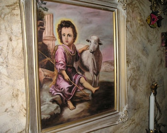 Vintage Celestial Boy Jesus the Young Shepherd w/Lamb Religious Oil on Canvas Framed signed Painting..Awesome..