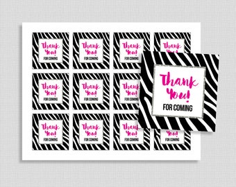 Zebra Thank You Favor Tags, Black & Hot Pink Zebra Print Shower Party Favor Tags, Baby Girl, INSTANT PRINTABLE