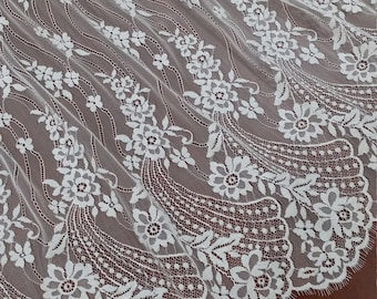 Ivory lace fabric by the yard. 61 inches wide. Delicate french Chantilly lace fabric. White bridal wedding dress lace. Scalloped lace L69203