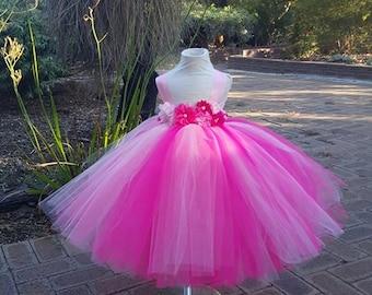 Pink HotPink  Tutu Dress Flowergirl dress -Toddler, Baby, Girls, Weddings, Birthdays
