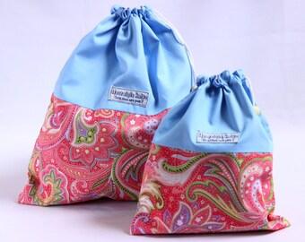 Pink knitting bag, paisley drawstring bag, pink project bag, blue knitting bag fabric bag, fabric drawstring bag, crochet UK knitting gifts