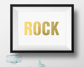 Rock On Switch Gold Foil Print 5 x 7 Inch
