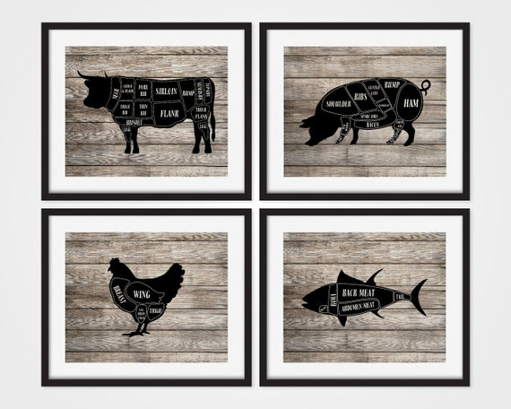 Butcher Chart Butcher Diagram Kitchen Art Prints Cow Pig