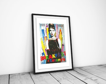 Breakfast at Tiffanys Colourful Poster A3 Size