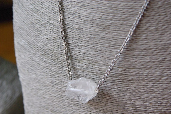 Raw Quartz Crystal Necklace on Stainless Steel Chain. Nickel Free.