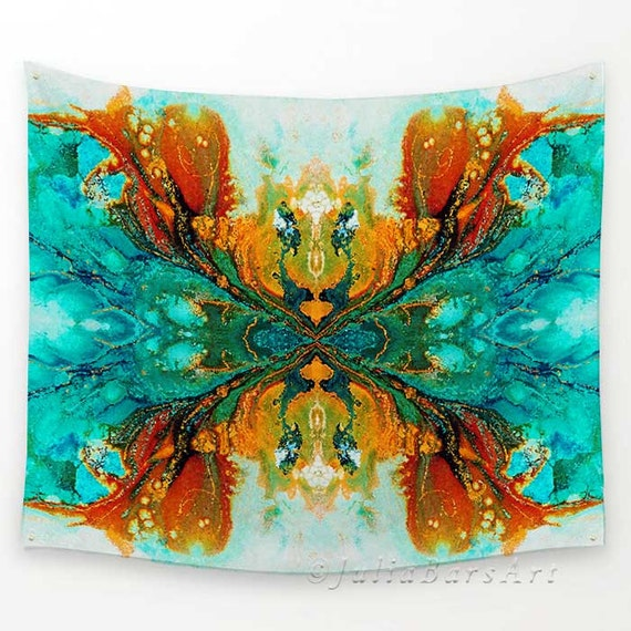 Wall tapestries wall hanging tapestry teal turquoise burnt - Orange and teal decor ...