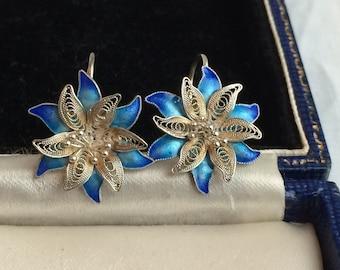 Lovely Vintage Silver Filigree + Blue Enamel Flower Earrings