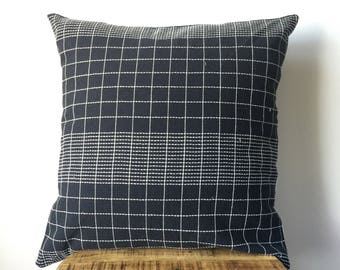 Black and White Hmong Embroidered Tribal Pillow Cover - Hand made in the hills of the Hmong Tribe - Black with White Embroidery