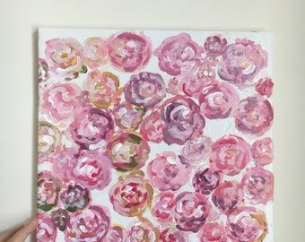 Pretty in Pink- floral painting on canvas