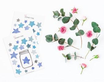 Blue Star Tracker Stickerset-watercolor sticker-pretty planning-scrapbooking-bullet journaling