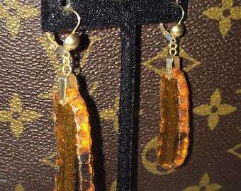VINTAGE Large 14K Gold BROWN AGATE Dangling Drop Earrings