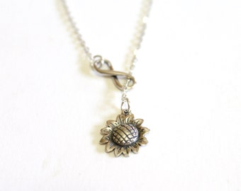 Sunflower Necklace, Infinity Necklace, Bridesmaid gift idea, Bridal jewelry, Bridesmaid necklace, Wedding gift, Christmas gift, Gift